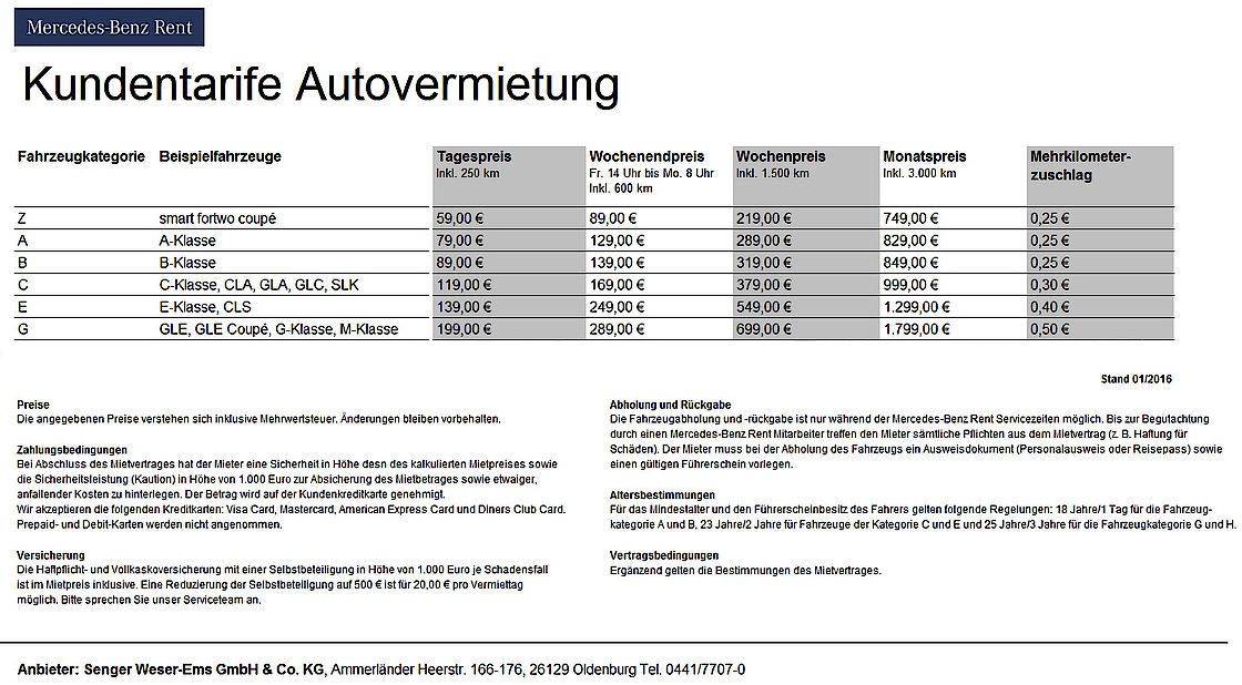 MB-Rent Preisliste