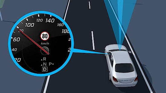 Mercedes-Benz B-Klasse mit Verkehrszeichen-Assistenz