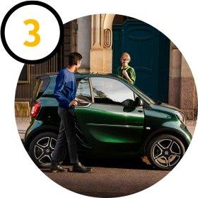 smart ready to share: Fahrzeug über Fahrzeug öffnen